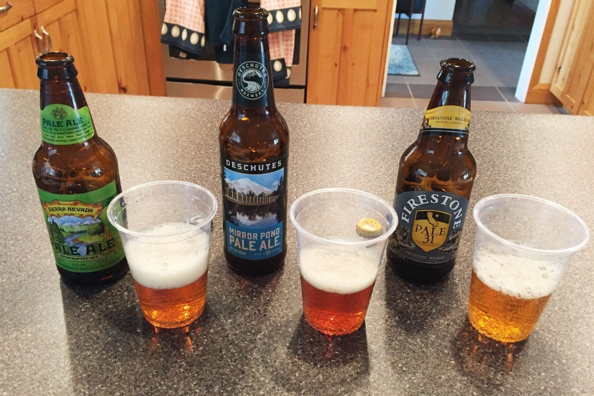 """""""Line 'em up"""" involves evaluating several beers of the same style side by side."""