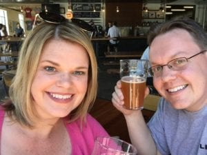 Enjoying a pint with my wife, Amy, at Fisher Brewing in the spring of 2017, shortly before I started my own digital consulting business.