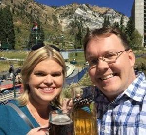 Tim and Amy at Oktoberfest at Snowbird.