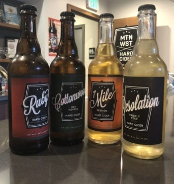 The Mountain West Hard Cider lineup: Ruby, Cottonwood, 7 Mile, and Desolation.