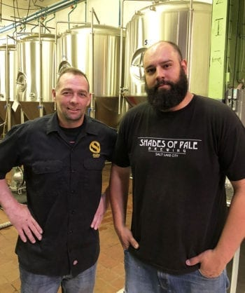 Trent Fargher, left, founder and president of Shades Brewing, and Marcio Buffolo, head brewer.