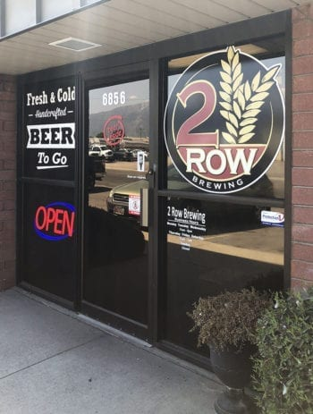The 2 Row Brewing bottle shop and brewery is located at 6856 South 300 West in Midvale, Utah.