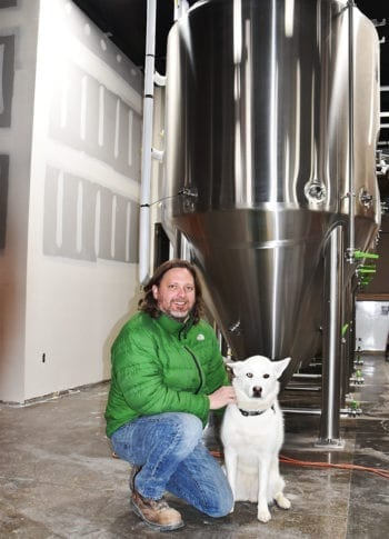 Brew dog 'Zilla with Level Crossing Brewing Owner Mark Medura.