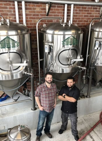 Hoppers Grill and Brewing Brewers Donovan Steele, left, and Richard Rodriguez