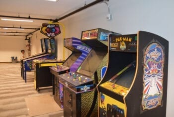 The basement of Craft by Proper features arcade games, Skee-Ball, and a space for private events.