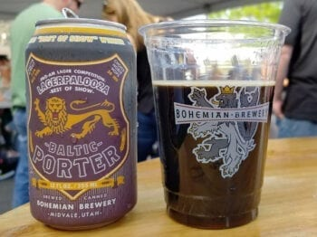 A Baltic Porter, the 2018 Lagerpalooza Best of Show winner brewed by Curt McCuistion. Attendees at the 5th Annual Lagerpalooza event on May 5, 2019, were the first to try the packaged beer.