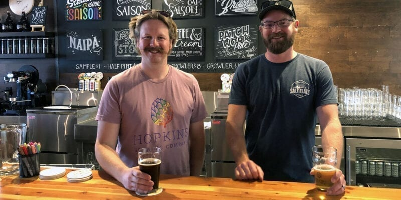 Chad Hopkins, left, of Hopkins Brewing and Scott Parker, of Salt Flats Brewing, collaborated on a Chile Mango Gose that will be available for the first time at the Utah Brewers Guild Fest on June 29, 2019.