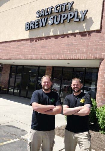 Ross Metzger, left, and Cody McKendrick own two homebrew supply shops in Utah and are in the process of opening Bewilder Brewing in Salt Lake City.