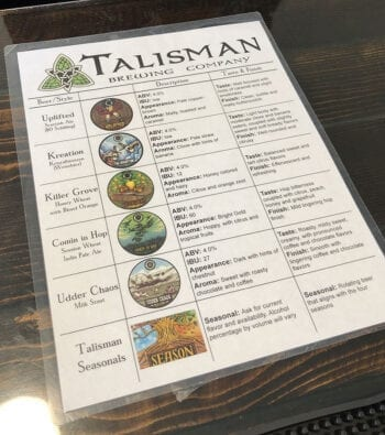 The Talisman Brewing tap list when Utah Beer News visited in June 2019.