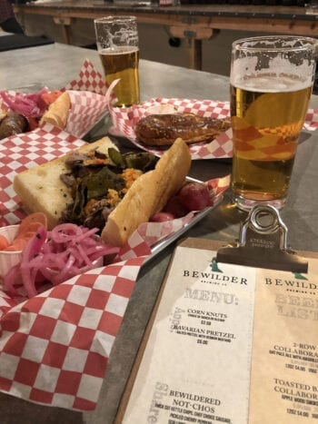 Sausages and sandwiches are on the menu at Bewilder Brewing.