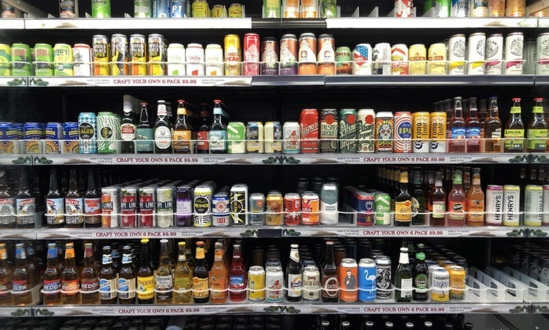 A cold case at Harmons on Nov. 5, a few days after the new law went into effect allowing grocers to sell beer containing up to 5% alcohol by volume.